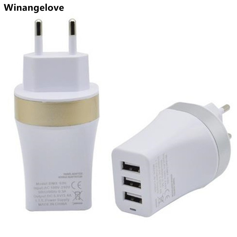 Winangelove-3 منافذ Usb لأجهزة iphone 5 و 6 و samsung ، شاحن حائط Ac ، لون ذهبي وفضي ، 500 قطعة لكل مجموعة