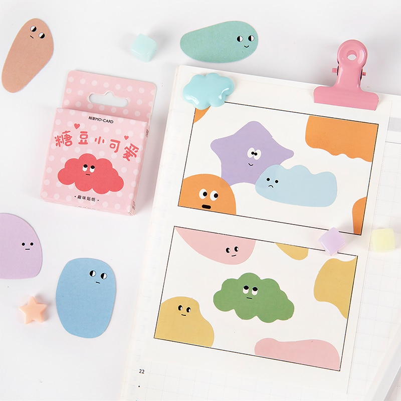 45pcs/pack Candy beans Memo Stickers Pack  Kawaii Planner Scrapbooking Stationery Escolar School Supplies