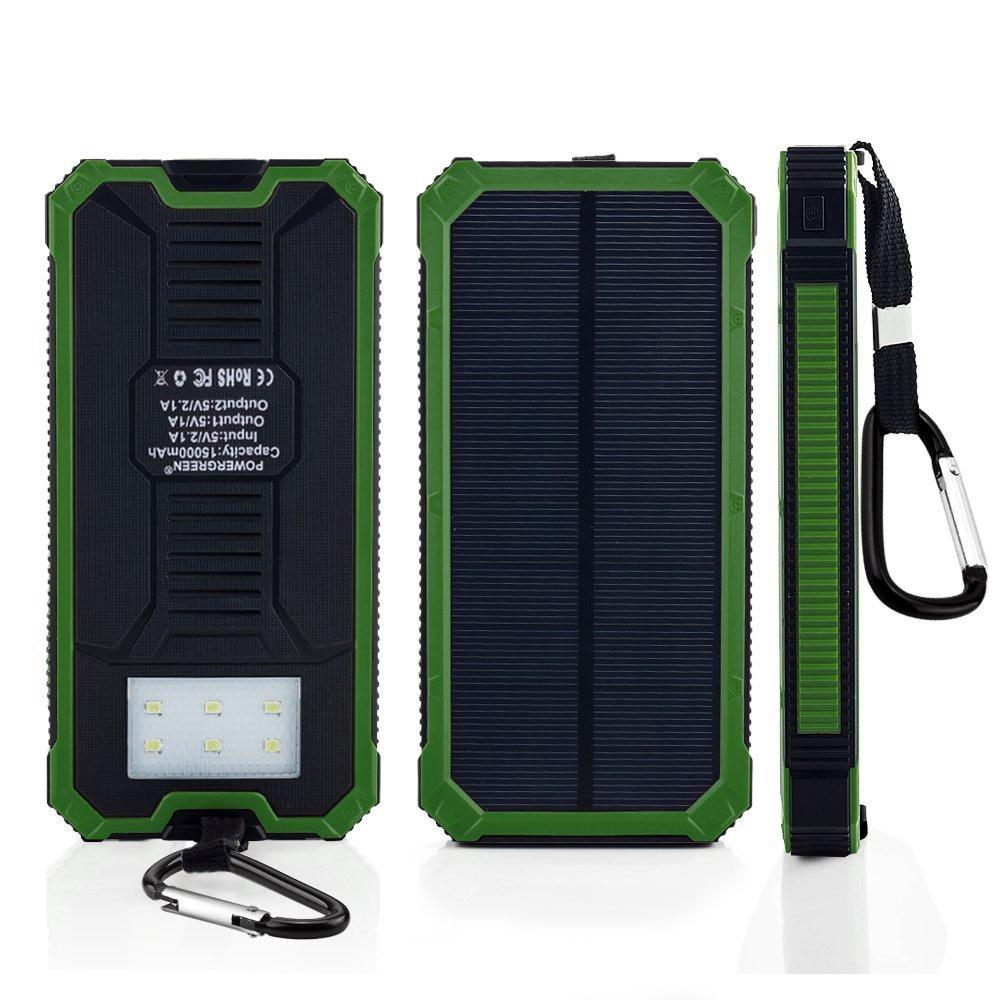 PowerGreen Portable Solar Power Bank 15000mAh LED Light Handy Charger Mini Solar Panel for Mobile Phone