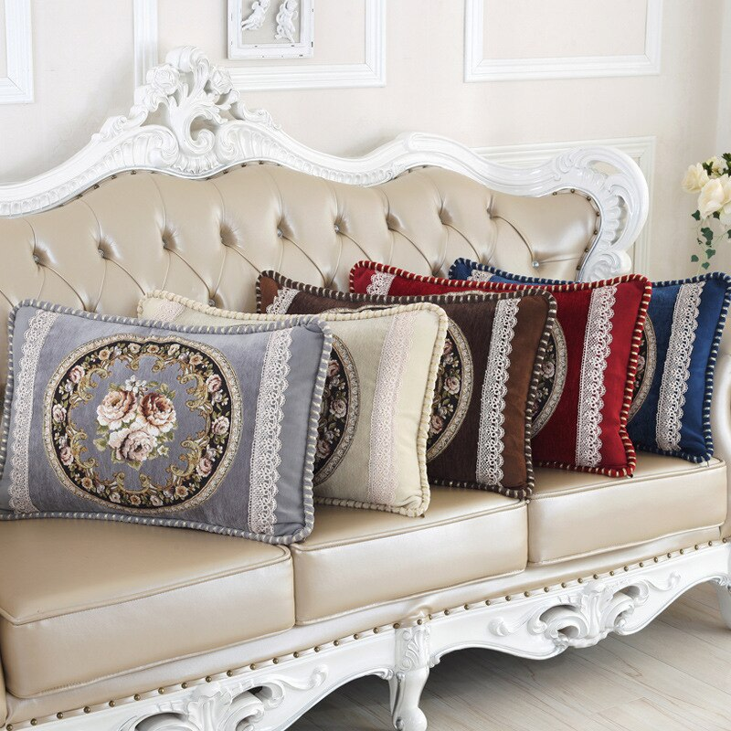 Funda de cojín Lumbar trasera rectangular de calidad superior de lujo para sofá cama Hotel Oficina Centro Comercial funda de almohada decorativa 48x68 cm