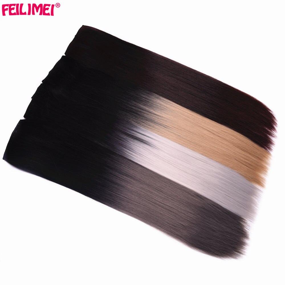 """Feilimei sintético ombre longo grampo reto em extensões de cabelo 5 clipes 24 """"60cm 120g prata cinza loira colorido feminino hairpiece"""