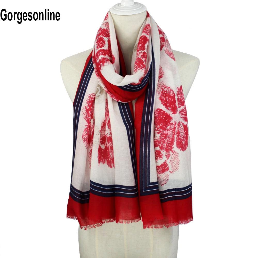 Gorgesonline women grils fashionable scarf print shawl charming flowers scarf wholesale