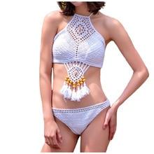 Womens Handmade Knitted Bikinis Set Solid Crochet Fringed Swimsuit Swimwear High Neck Tassel Hollow Crop Top Beachwear
