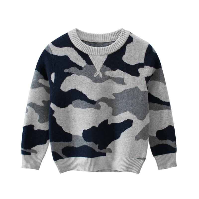 Осенне-зимние свитера для мальчиков детская одежда детские камуфляжные пуловеры вязаный свитер для маленьких мальчиков повседневное паль...
