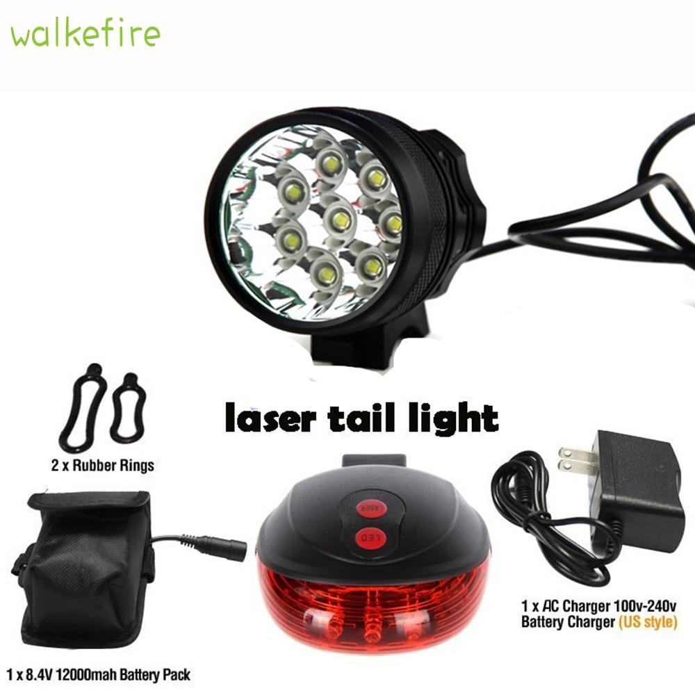 Walkfire 12000 루멘 8 x xml t6 led 자전거 라이트 + 자전거 후면 레이저 테일 라이트 방수 마운틴 + 18650 배터리 팩 + 충전기