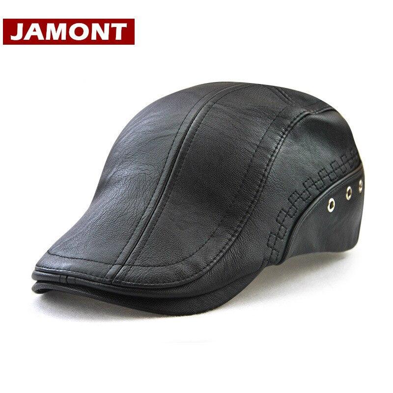 [JAMONT] 2020 hombres gorro primavera otoño gorra con visera PU cuero boina sombreros moda Gorras boinas gorros de hombre Casquette