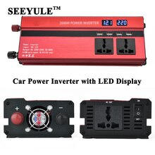SEEYULE-onduleur de voiture 2000W   1 pièce, convertisseur, affichage, convertisseur, 12V / 24V à AC, 220V, chargeur USB 4 USB pour ordinateur portable, ventilateur de bord