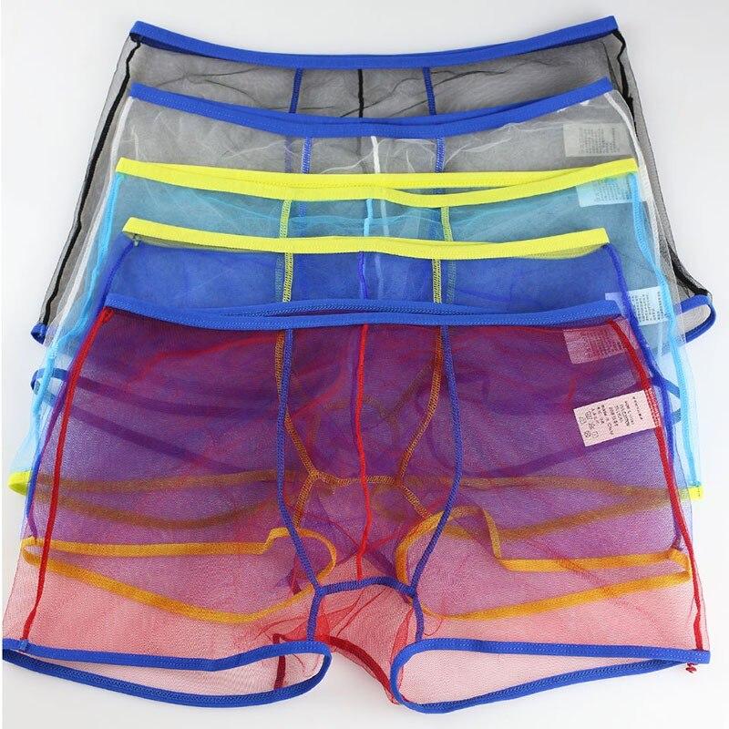 ¡Gran oferta! Boxers de malla transparentes para hombre y niño, calzoncillos Boxer transparentes, ropa interior transparente 2019