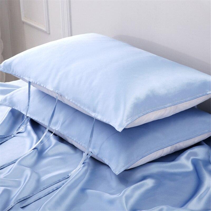 19 funda de almohada Momme 100% de seda natural de Mora, tamaño único, almohada de Color puro, toalla con 6 tirantes con lazo