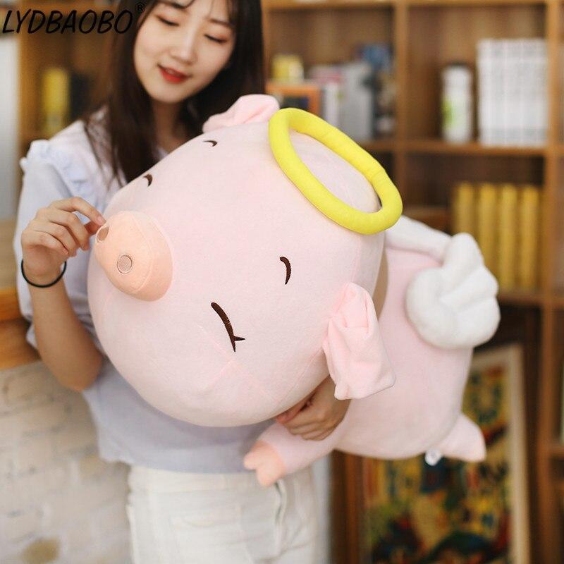 LYDBAOBO 1 unidad 60CM anillo Rosa grande cerdo muñeco de peluche bonito cerdo animales almohada suave juguete cojín muñecas niños regalos de cumpleaños