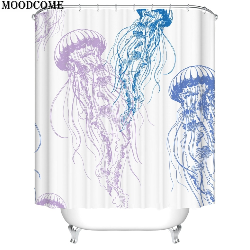 Cortina de ducha de pez gelatinoso, cortina de baño, cortina de ducha, nueva llegada, cortina de baño impermeable de pez marino