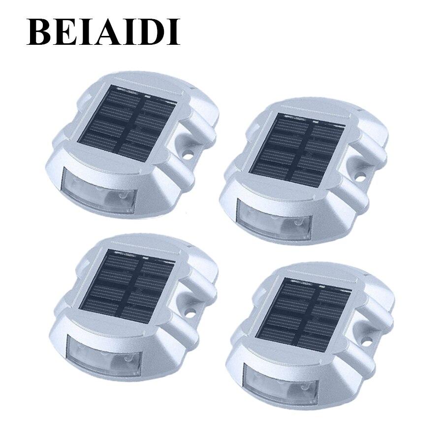 Luz LED Solar de 4 Uds. BEIAIDI, marcador de camino, luz de poste de carretera 6LED, luces de camino de paso al aire libre, luz Solar de advertencia de seguridad para entrada