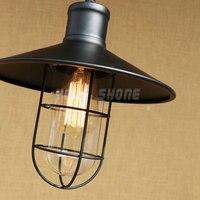 American country style retro industrial warehouse glass lamp wrought iron bar restaurant e27 220v 110v bar pendant light