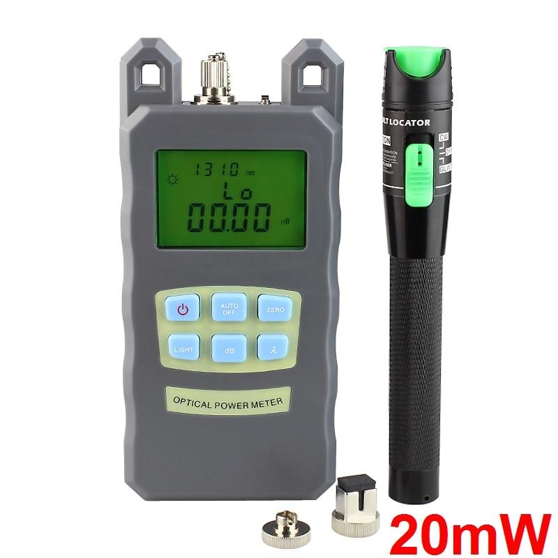 Gran oferta medidor de potencia de fibra óptica-70dBm ~ + 10 dBm potencia de fibra óptica y 20mW 15KM Localizador Visual de fallos probador de cable de fibra óptica