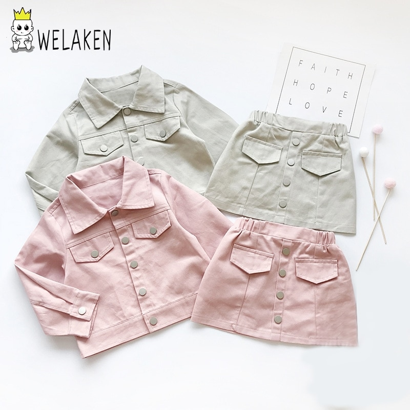 Conjunto de ropa de Welaken para niñas Todder 2019 chaqueta de cuero + Falda corta 2 piezas Casual ropa diaria Collar de soporte de otoño ropa de niñas