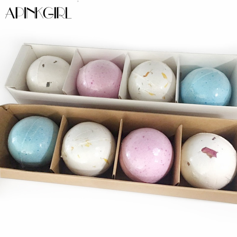 APINKGIRL 4Pcs/lot Organic Bubble Bath Salt Bombs Skin Care Oil Sea Salt Handmade SPA Bath Bombs Gift Set Pack of 4 Body Cleaner недорого