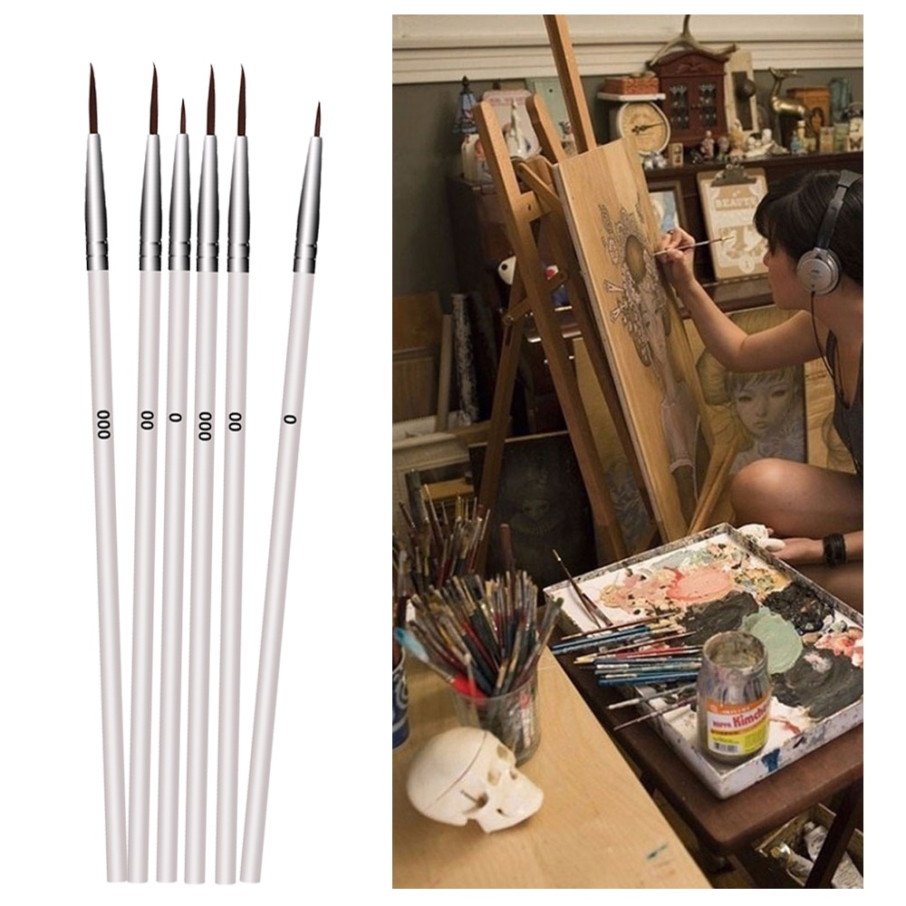 10 unids/set Point Tip Nylon fibra línea de pelo dibujo lápiz artista pincel pluma de gancho fino arte suministros Fondant pastel herramienta de decoración