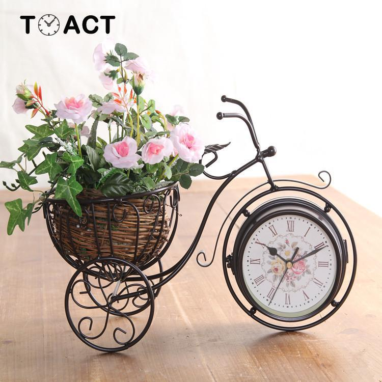 Reloj silencioso de doble cara, Relojes Retro para asiento de bicicleta, escritorio creativo Artesanía de metal decoración de sala de estar, adornos de regalo