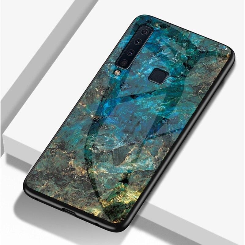 Caso para Samsung Galaxy A9 2018 cubierta de lujo de vidrio templado 9 H de mármol caso suave para Samsung A9 2018 a920F caso kimTHmall