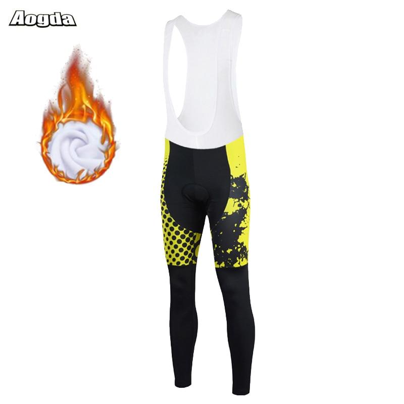 Aogda-Pantalones largos de Ciclismo para hombre, medias térmicas de lana con almohadilla...