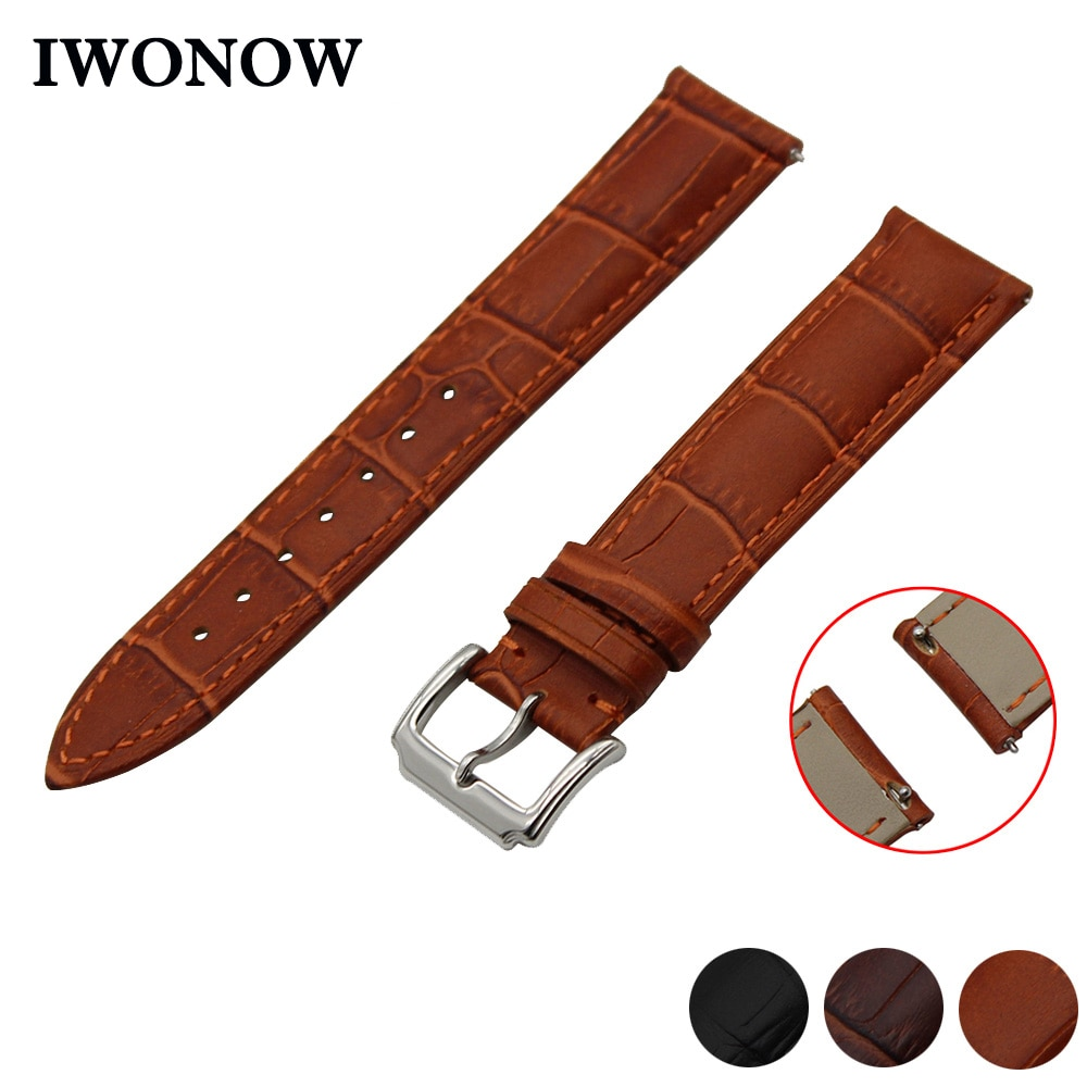 Genuine Leather Watch Band 22mm for Samsung Galaxy Gear 2 R380 Neo R381 Live R382 Quick Release Strap Wrist Belt Bracelet Black