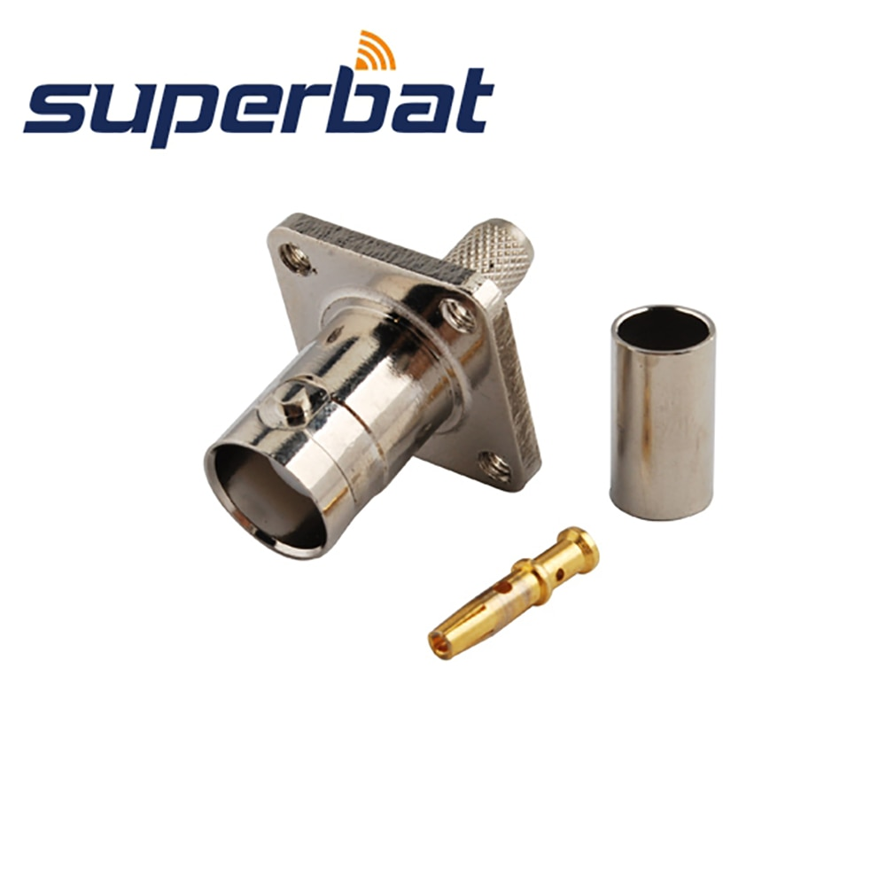 Superbat BNC Crimp Jack 4 Hole Panel Mount RF Coaxial Connector for Cable LMR195/RG58 RG142