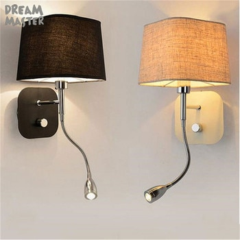 Modern knob switch Wall Lamps indoor black white wall lighting Minimalist art Sconce Interior Home Decoration bed light lampara