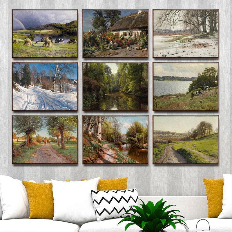 Художественные настенные картины с принтом для украшения дома, постер для гостиной, холст, картины с принтом, датский Peder Mork Monsted Landscape