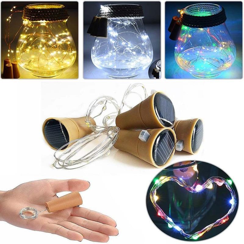 LumiParty 8LED/10LED Solar Power Wein Flasche Kork Form LED Kupfer String Licht Girlande Girlande Draht String Lichter Glänzende