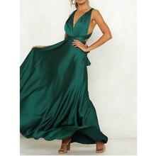Robes en Satin élégant drapé été plage robe Maxi pansement bretelles croisées dos nu longueur de plancher extensible soirée robe de soirée