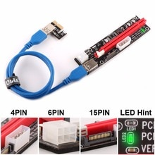 Ubit VER103C 3in1 LED Riser puissance PCI-E Riser carte 4pin 6pin Sata 15PIN PCI Express 1X à 16X câble dextension pour Bitcoin Miner