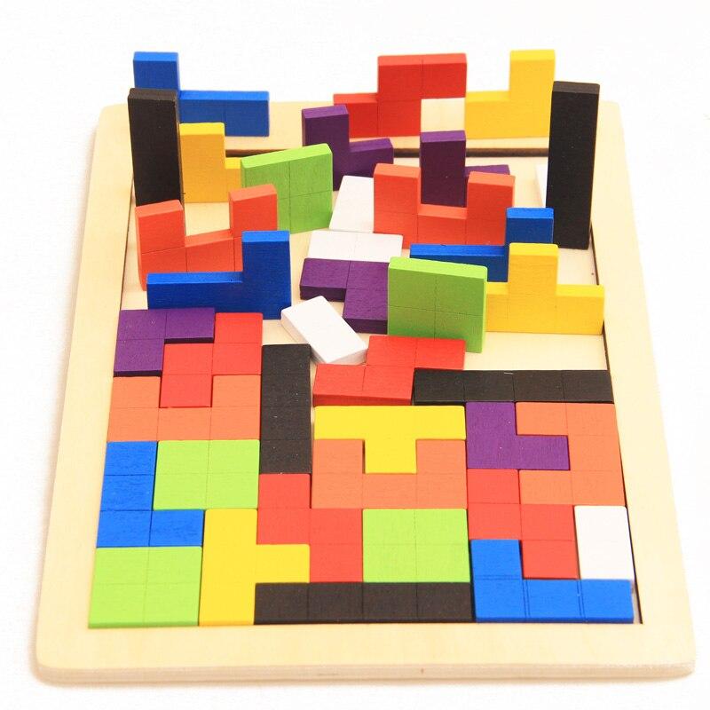 Детский обучающий пазл Монтессори, деревянный Тетрис, головоломка, геометрическая форма, горка, детский подарок на день