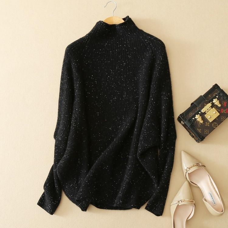 Suéter a la moda de punto de lana con clip de Cachemira de 100% para mujer manga de murciélago talla única