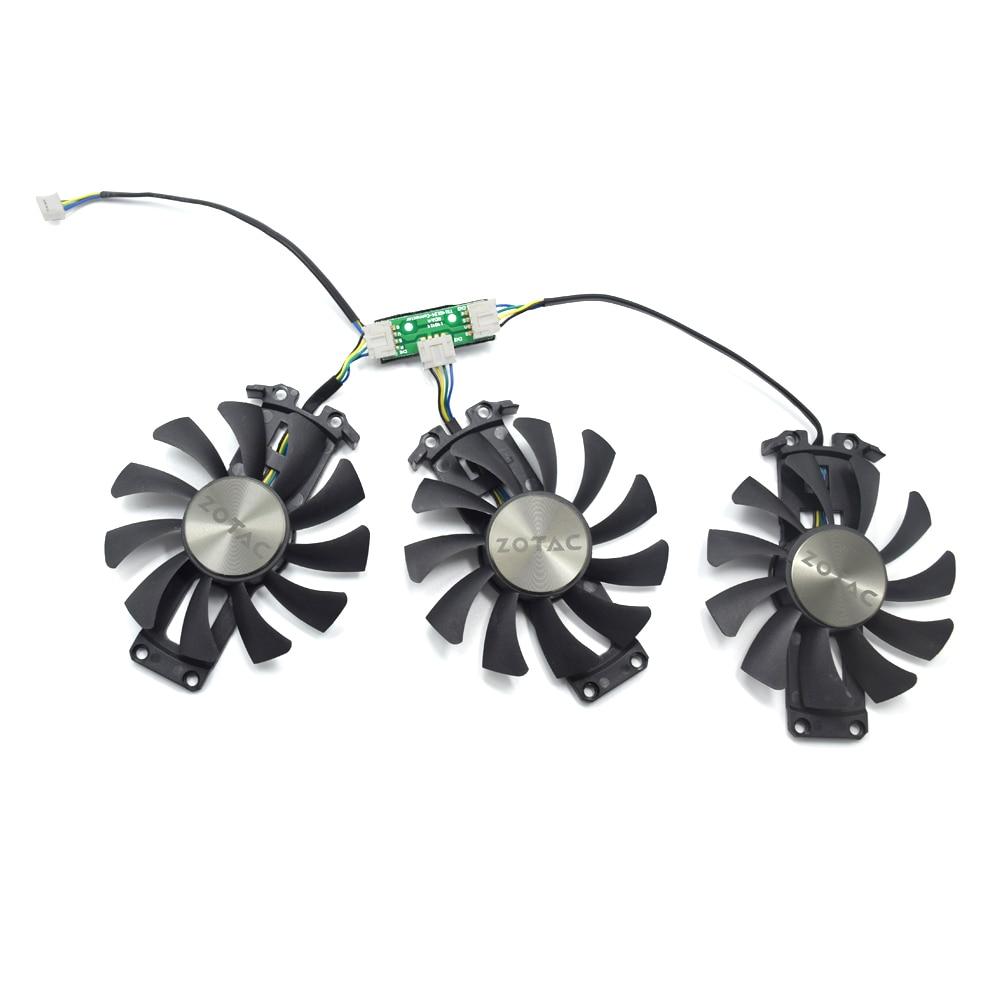 3 unids/lote 75mm GA81S2U 4PIN GTX980 VGA GPU ventilador para reemplazar palit Geforce GTX 980-4GD5 AMP HA Edición 4G tarjeta gráfica