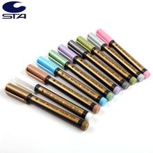 STA 10 Set de couleurs marqueurs dart métallique Graffiti multicolore Para métal peinture à lhuile marqueur Sharpie stylo pour carte noire marqueur de peinture