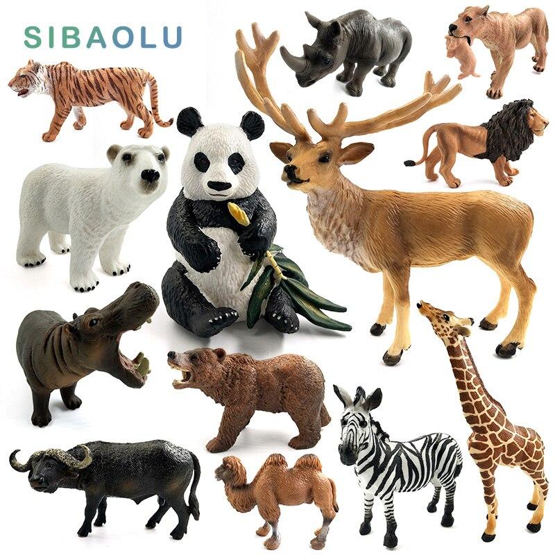 Ciervo hipopótamo Panda rinoceronte Oso Polar Reno jirafa alce cebra camello búfalo estatuilla/modelo de animal decoración del hogar