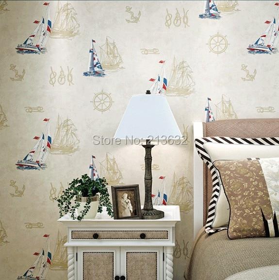 ZXqz 54 ورق حائط لحجرة النوم _ المصنع مباشرة الأزرق البحر الأبيض المتوسط مخطط الأولاد ورق حائط لحجرة النوم