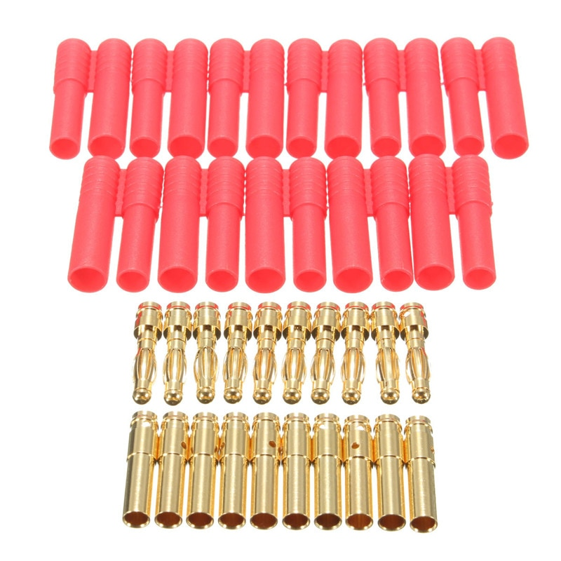 10 juegos de enchufes Banana HXT de 4mm con carcasa roja para conector RC conector AM-1009C conector de Banana chapado en oro
