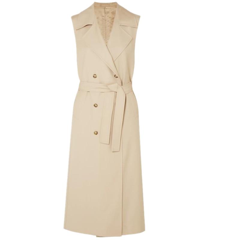 2020 New Spring Autumn Long Waistcoat Coat Women Ladies Elegant double breasted Fashion Sleeveless Vest Jackets Casual