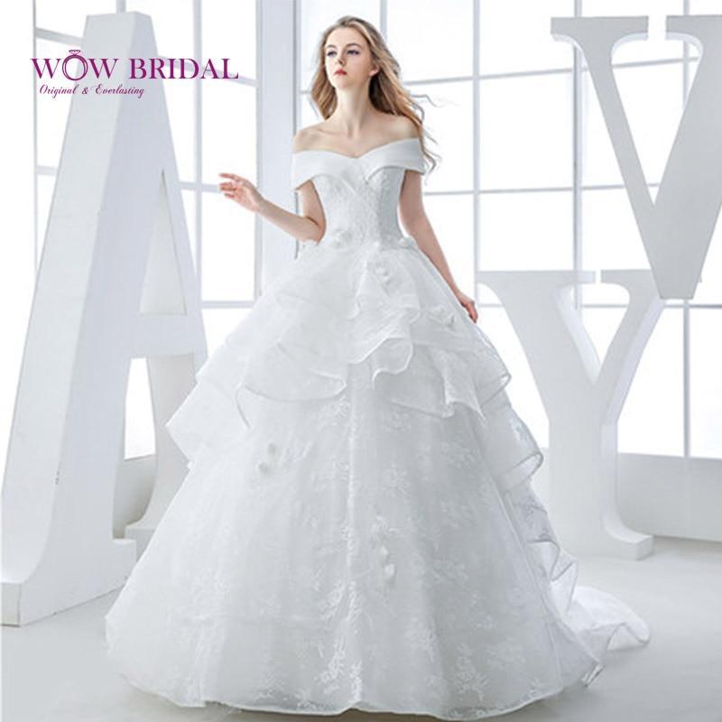 Wowbridal 2016 Stock vestidos de boda con corsé marfil bata blanca de novia Organza con cuentas vestido de novia