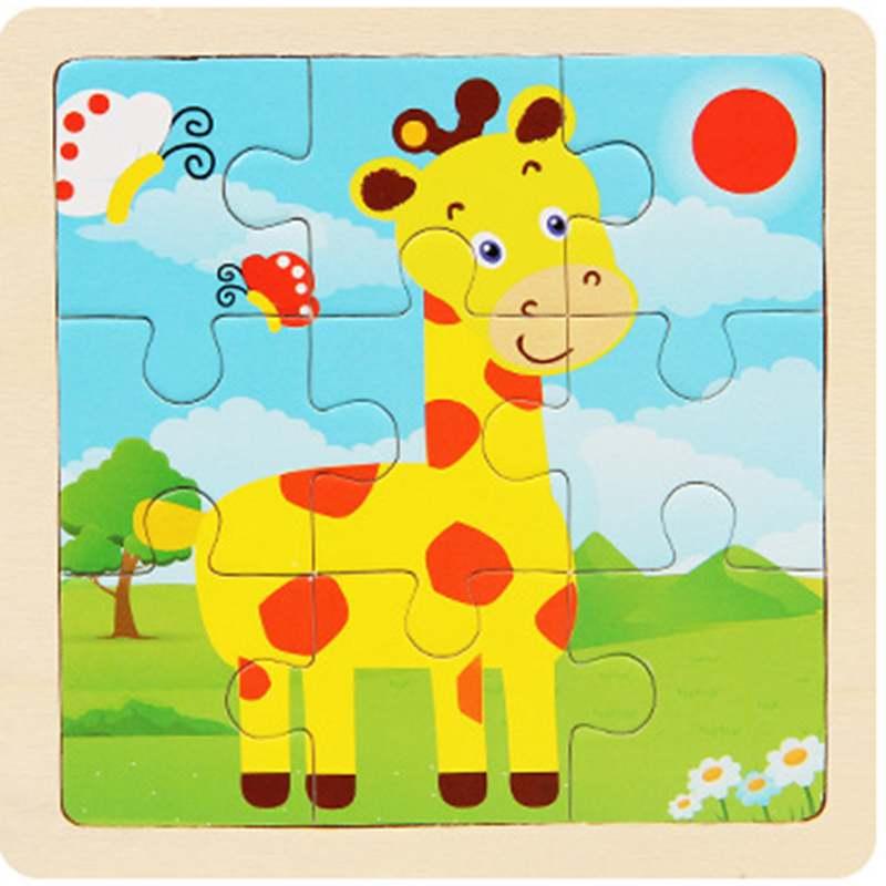 Деревянные пазлы, 9 шт., для маленьких детей, для раннего развития, усвоения навыков, мультяшная мозаика с жирафом