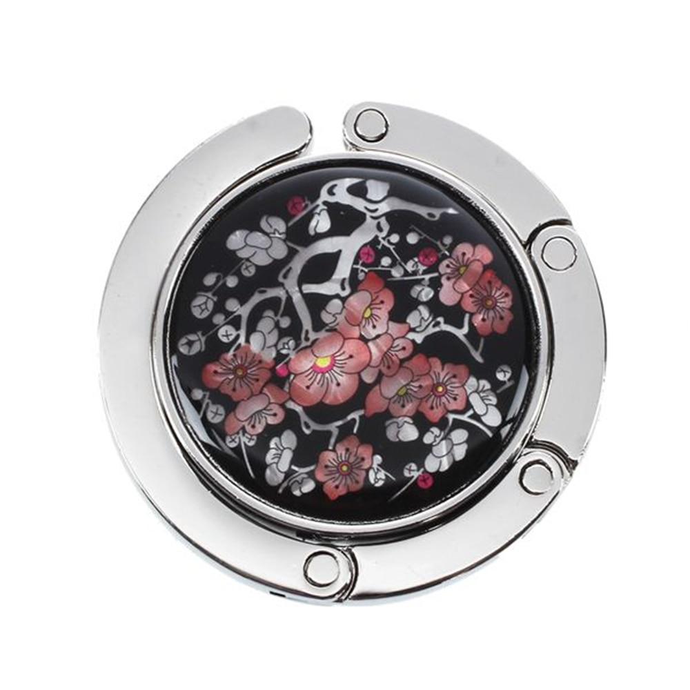 DSHA Neue Heiße Motiv floral fleur de prunier ronde pliante Porte sac cintre häkeln