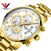 NIBOSI Wrist Watch Man Luxury Brand Quartz Watch Gold Full Steel Band Men Sports Watches White Reloj Hombre Acero Inoxidable