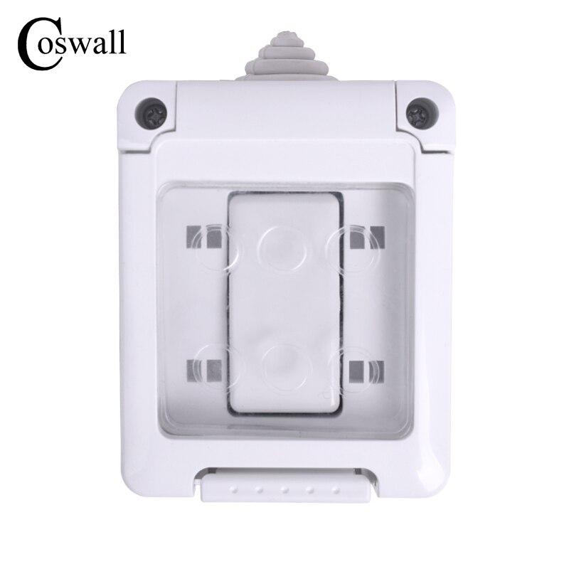 Coswall ce certificação ip44 impermeável à prova de poeira exterior interruptor de parede externo 1 gang interruptor de luz de ligar/desligar