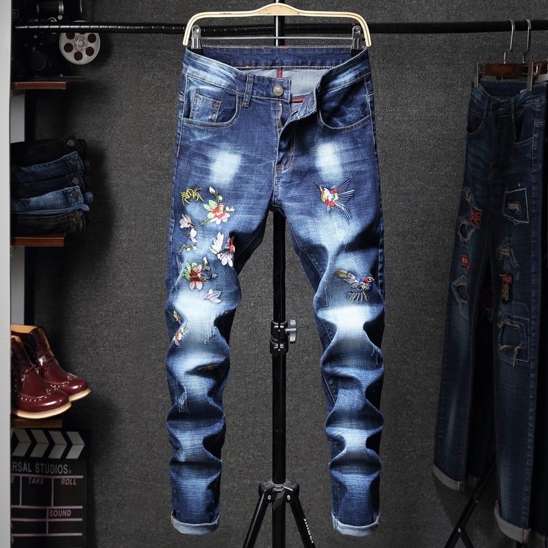 GuaPai printemps 2019 nouveaux hommes broderie lourde déchiré hommes jeans pantalon-P55 QT3020-1663