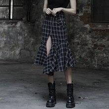 PUNK RAVE Women Punk Plaid Casual Skirt Fashion Trumpet Min-calf  Hight Waist Gothic Skirts