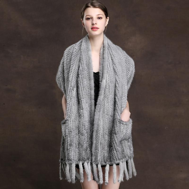 ZDFURS * knit scarves mink fur scarf mink  real knitted mink  fur shawl warp