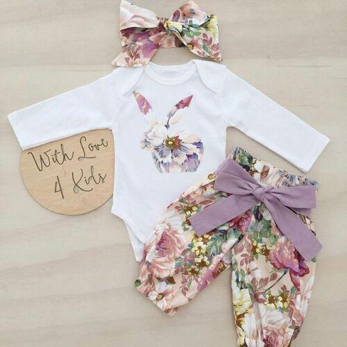 Mono de conejo con estampado Floral para niñas recién nacidas + Pantalones de estampado Floral 2 uds conjunto de trajes