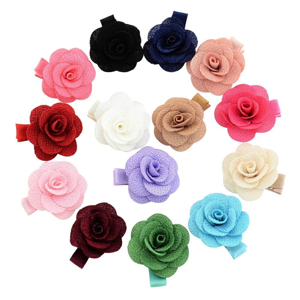 20pcs  Baby Girls Rose Flower Hair clip Chiffon Floral With Ribbon Alloy Hair Clip Children Hair flowers Handmade Hair Pins
