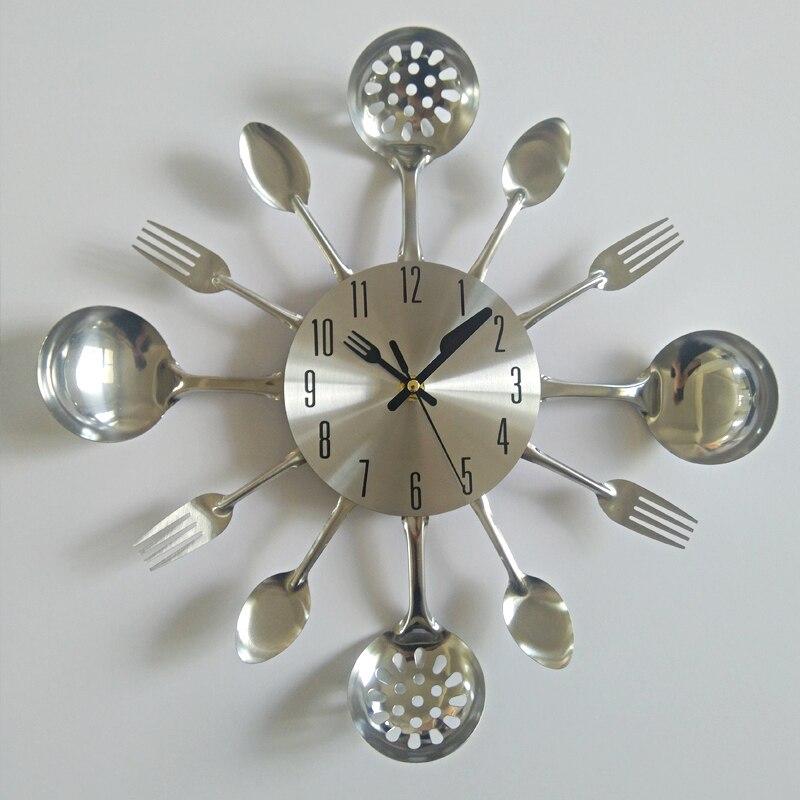 Reloj de pared de metal real cuchillo de cocina la decoración de cuarzo silencio moderno separa relojes de aguja reloj de casa